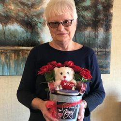 Barb won the Valentine's Day gift basket with a Grape Life gift card